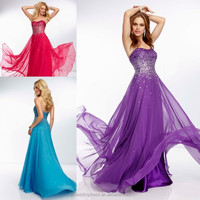 HE2007 2015 Bright Purple Sparkly Slivery Beaded Sequins Top A-line Fly Skirt Zipper Sexy Fashion Cocktail Chiffon Prom Dress