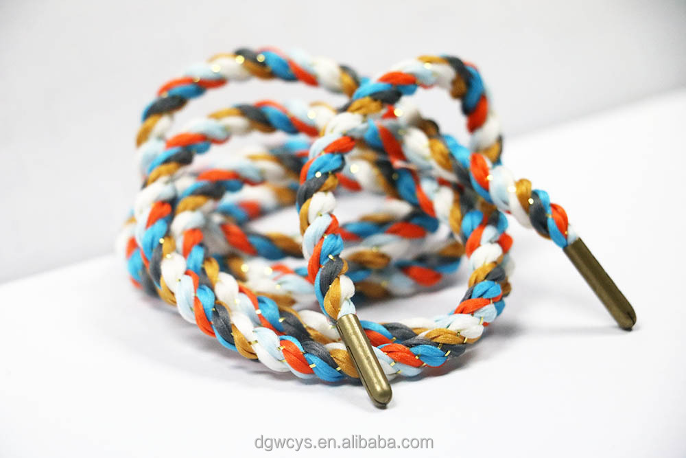 Custom colorful nylon material spiral reflect metal tip in shoelace