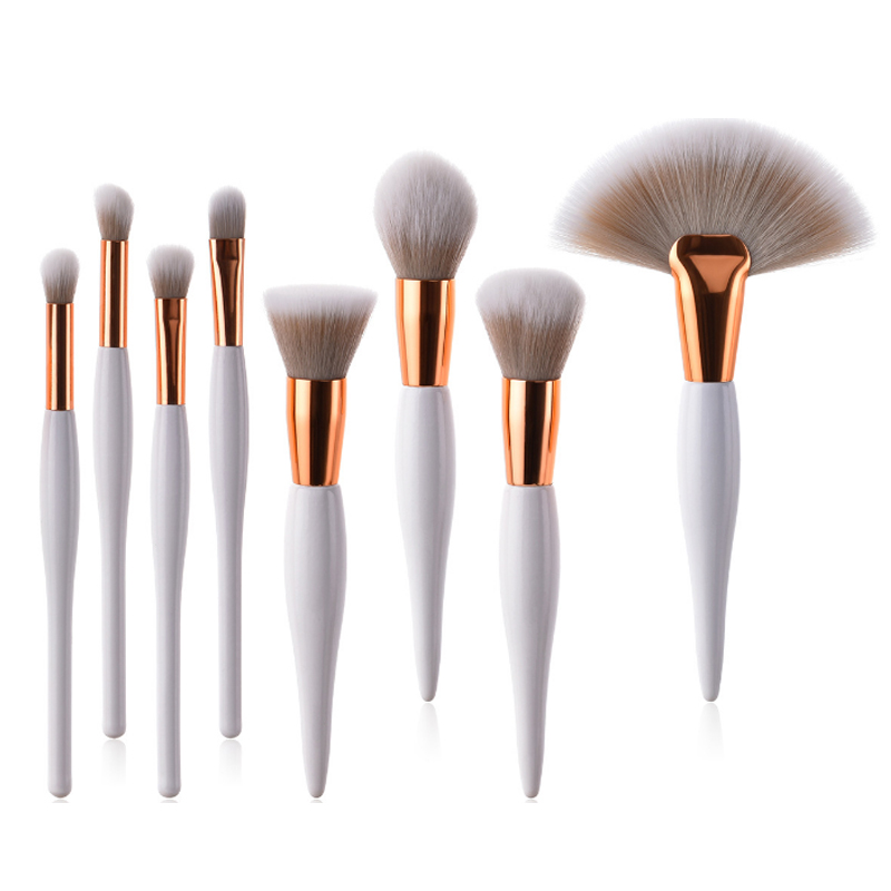 New design 4/8 pcs wood handle private label cosmetics makeup synthetic brushes set