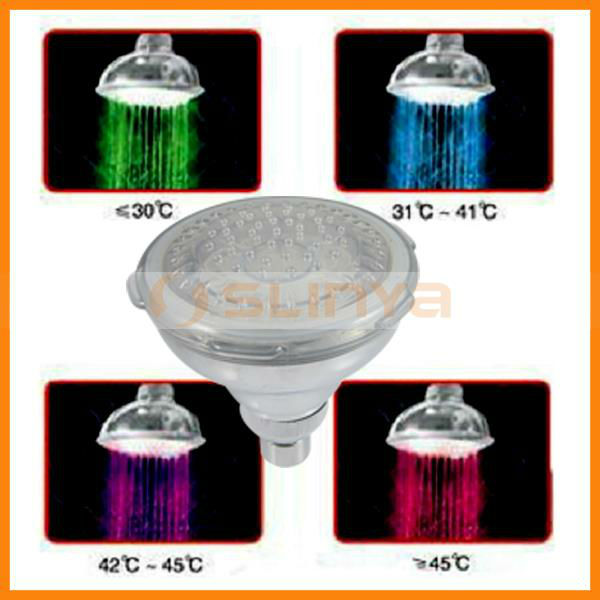 Plastic Rainfall LED Color Changing Shower Head