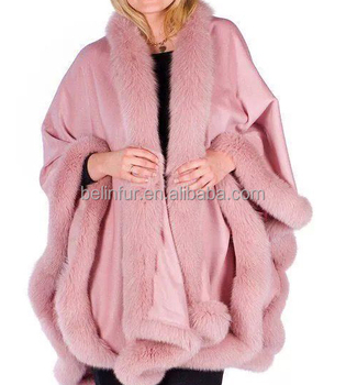 Pink cashmere cape with straight fox fur trim/pushmina shawl poncho