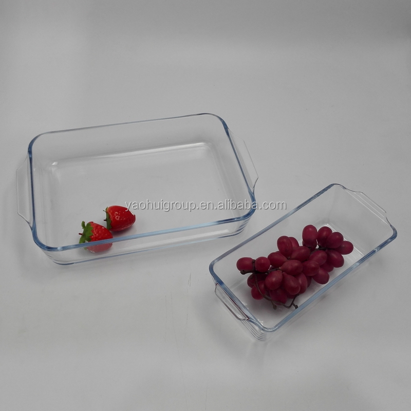 2 pcs Oven and Microwave Safe borosilicate glass oblong baking dish