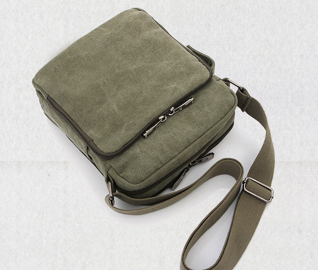 Men Canvas Cross Body Bag with Water Bottle Holder