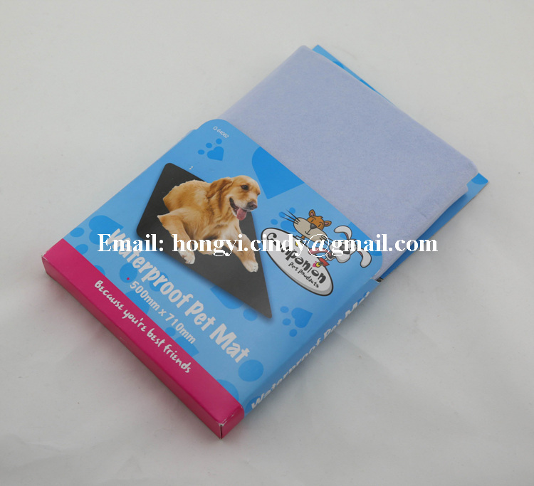 Super absorbent PE film backing nonwoven fabric dog mats, dog pee mats
