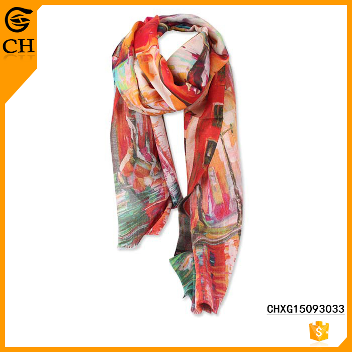 Lady's Fashion OEM Print Silk Colorful Neck Scarf