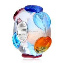Colorful Love to Love Murano Glass Charm European Beads 925 Sterling Silver Core for 3mm Bracelet