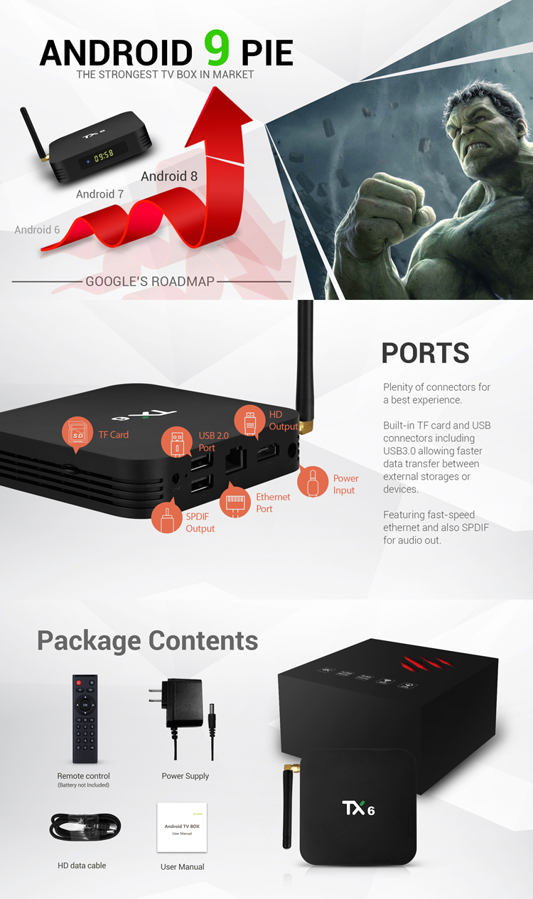 Newest Updates Android 9.0 tv box TX6 H6 4K Quad Core Set top box 4GB 32GB Internet Allwinner H6 Android TV Box