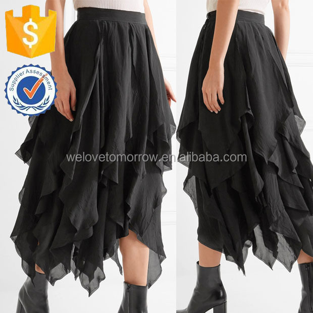 Black Washed-satin Asymmetrical Edges Midi-length Simple Skirt For Ladies Manufacture Wholesale Fashion Women Apparel (TF0074K)