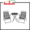3pcs Patio Bistro Set Outdoor Mesh Folding Table and Chairs
