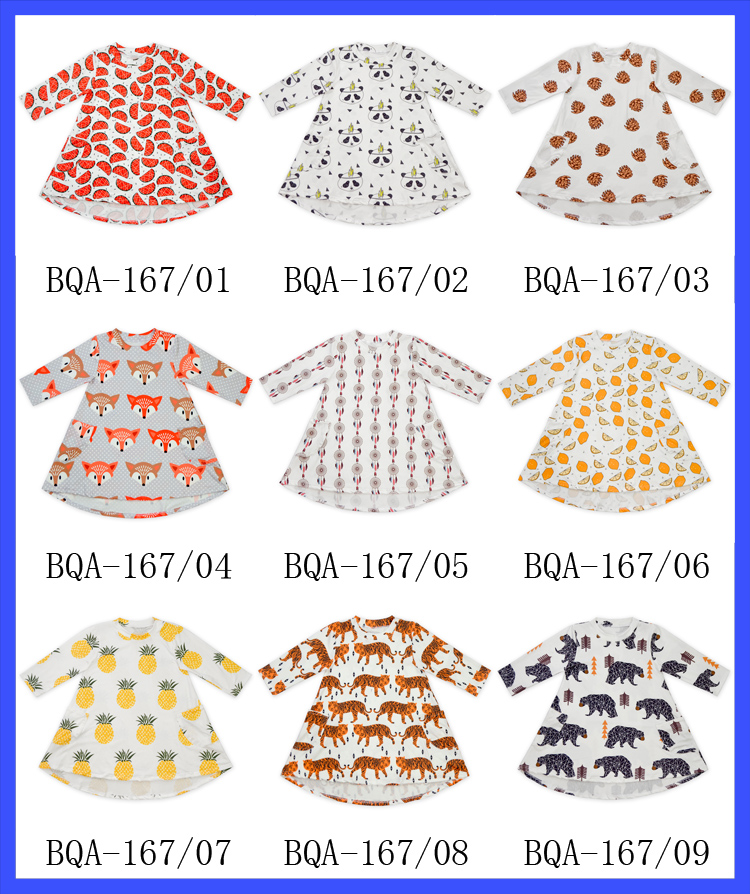 Long Sleeve Cotton & Polyester Frock Multicolored Soft Touch Dresses Fashion Baby Frock Designs For Small Girls