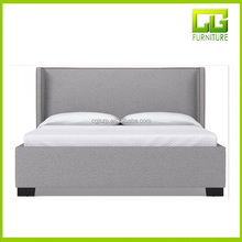 King Upholstered Linen Fabric Bed with Chrome