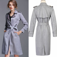 New fashion design long style belted napoleon collar coats and jackets woman