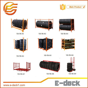 heavy duty collapsible tire rack stackable powder coating tyre storage rack