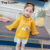 Top Leader Baby Girls Dress 2018 New Spring Autumn Fake Two-piece Cartoon Print Sweater Pleated Dress Kids Clothing