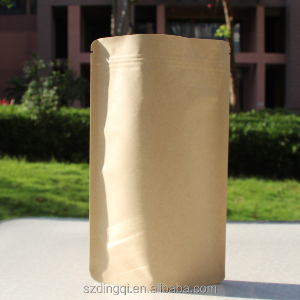 Gravure printing kraft paper top zipper sealing pouch with custom printed for kaffee