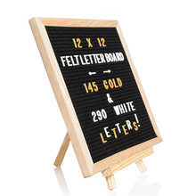 Advertising Board 10*10inch Oak Frame Grey Felt Letter Board with 520 Letter with Stand and Metal Hook