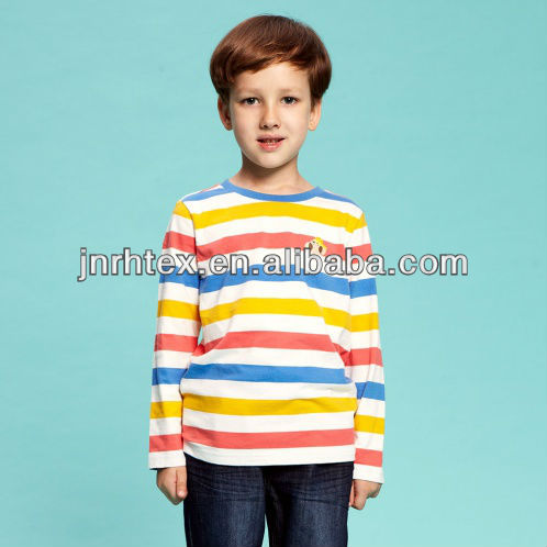 100% cotton red white striped long sleeve t shirt