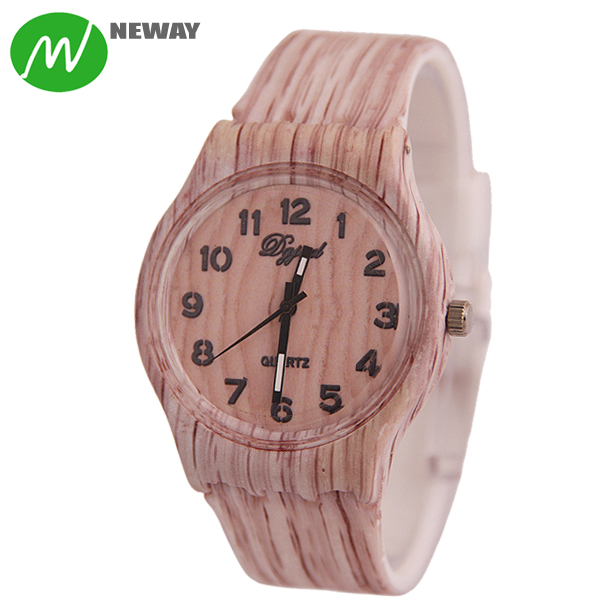 High Quality Wood Style Silicone Quartz Hand Watch