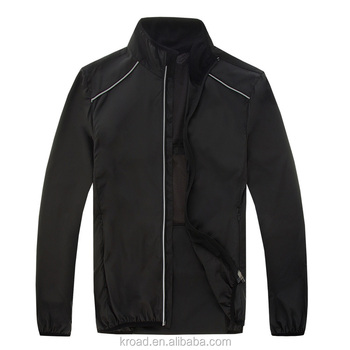 Fashion Black White Pure Color Polyester Cycling waterproof raincoat running jacket