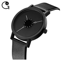 2016 No logo Stylish Design Matte Black IP Plating Genuine Leather Hand Fashion Watch