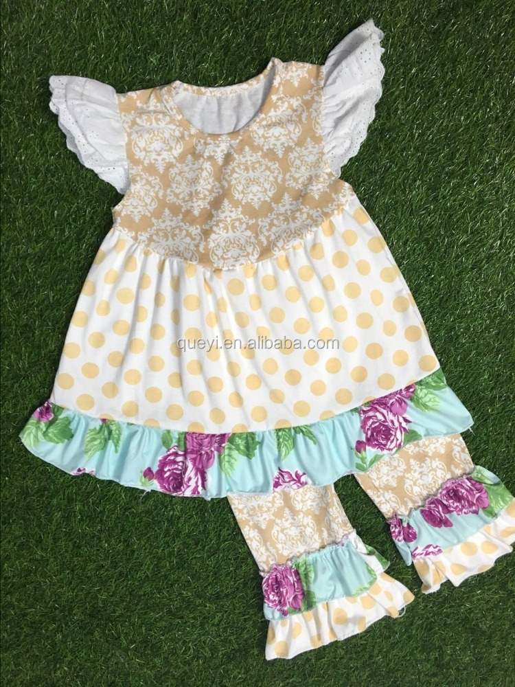 Summer children's suits two sets of dots flower pattern Ladies suit