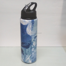 dye steam printing 500ml Aluminum Water Bottle with straw