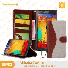 BRG High Quality Cheaper Price Leather Phone Case For Samsung Note 5+Wallet +Credit Card Slot