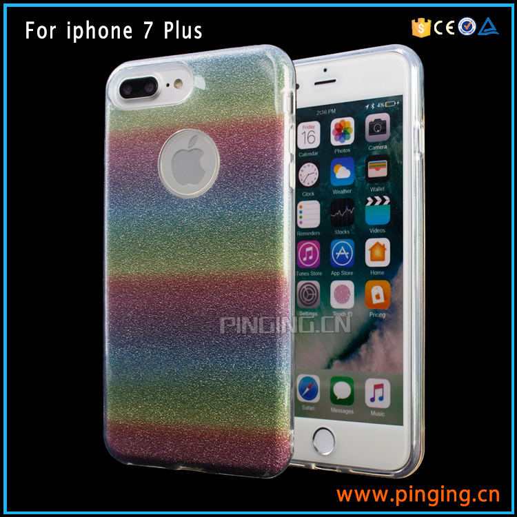 Gradient rainbow glitter powder case import mobile phone accessory for iphone 7 plus