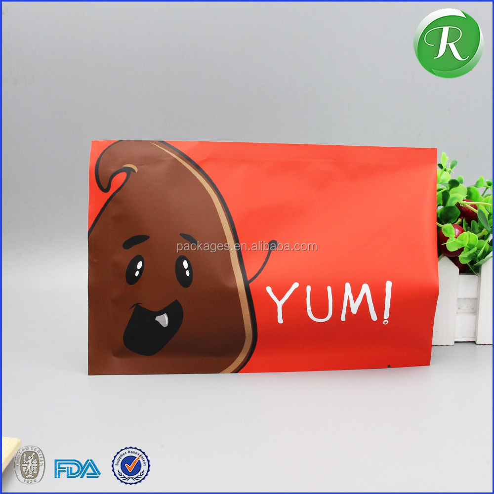 Top zip plastic bag food packaging/ 3 side seal zipper bag/ stand up pouch ziplock bag for meat,pork,beef,sea food