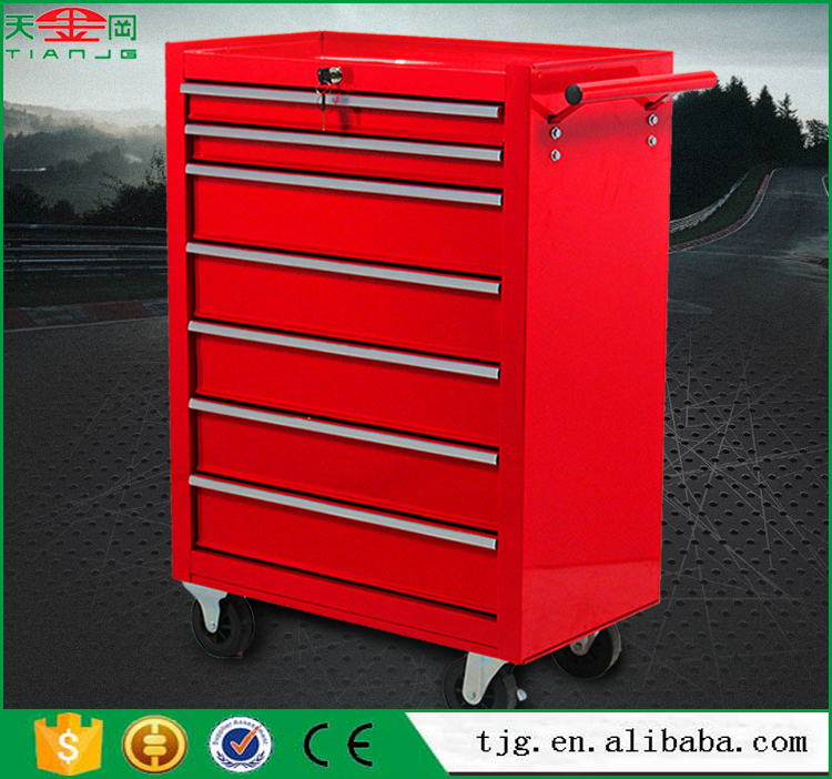 TJG Steel Metal Storage Cabinet Type Trolley Tool Box For Garage With 7 Drawers