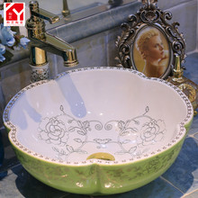 China Ceramic Art white color with beautiful flower patterns Bathroom Face Wash Basins