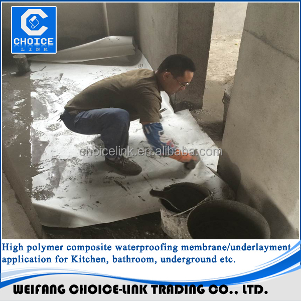 bathroom floor waterproofing material pp pe compound membranes