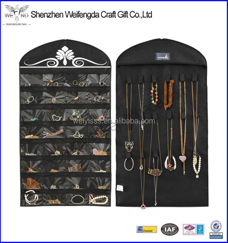 Black Non-Woven Hanging Jewelry Organizer Holder With 32 Pockets 18 Hook and Loops