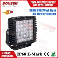 super bright 360w 9inch square LED work light off road work lamp Ip67 with 4D hyper optics 32400lm
