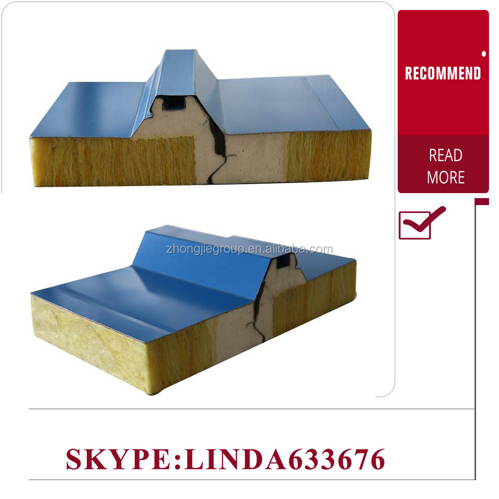 50mm thickness rockwool 1000mm Width Rock Wool Sandwich Roofing Panel