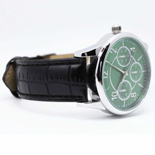 Men's Vintage Silver colorful Dial Black Leather Watch For Men