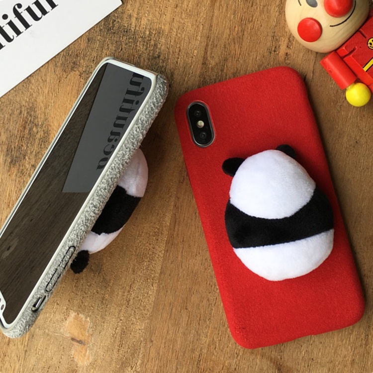 Shockproof 360 protective Stereoscopic Panda back case, hair felt material soft Adorkable girl phone cover for iPhone X case