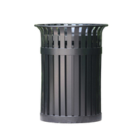 Outdoor round metal metal steel trash bin waste bin container recycle bin