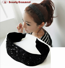 The fair maiden temperament of pure and fresh and lovely sequins wide-brimmed hair hoop head band