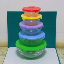 5 pcs glass bowl set with mixed color lids