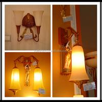 Antique bronze chandelier lighting white glass wall lamp