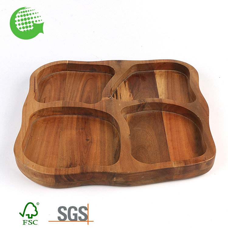 Wholesale 4 Compartment Acacia Wood Natural Unique Nut Divide Serving Tray Size