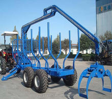 CE Approved ATV tractor Log timber trailer with crane grapple