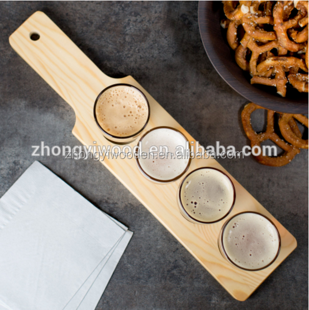 Restauran bar accessory custom FSC food grade oil treatment wooden cocktail serving plate