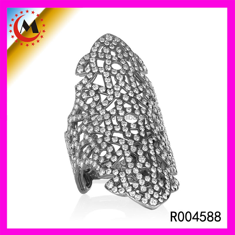 Fashion Jewellery Oxidized Sterling Silver Hollow Out Long Ring Womens