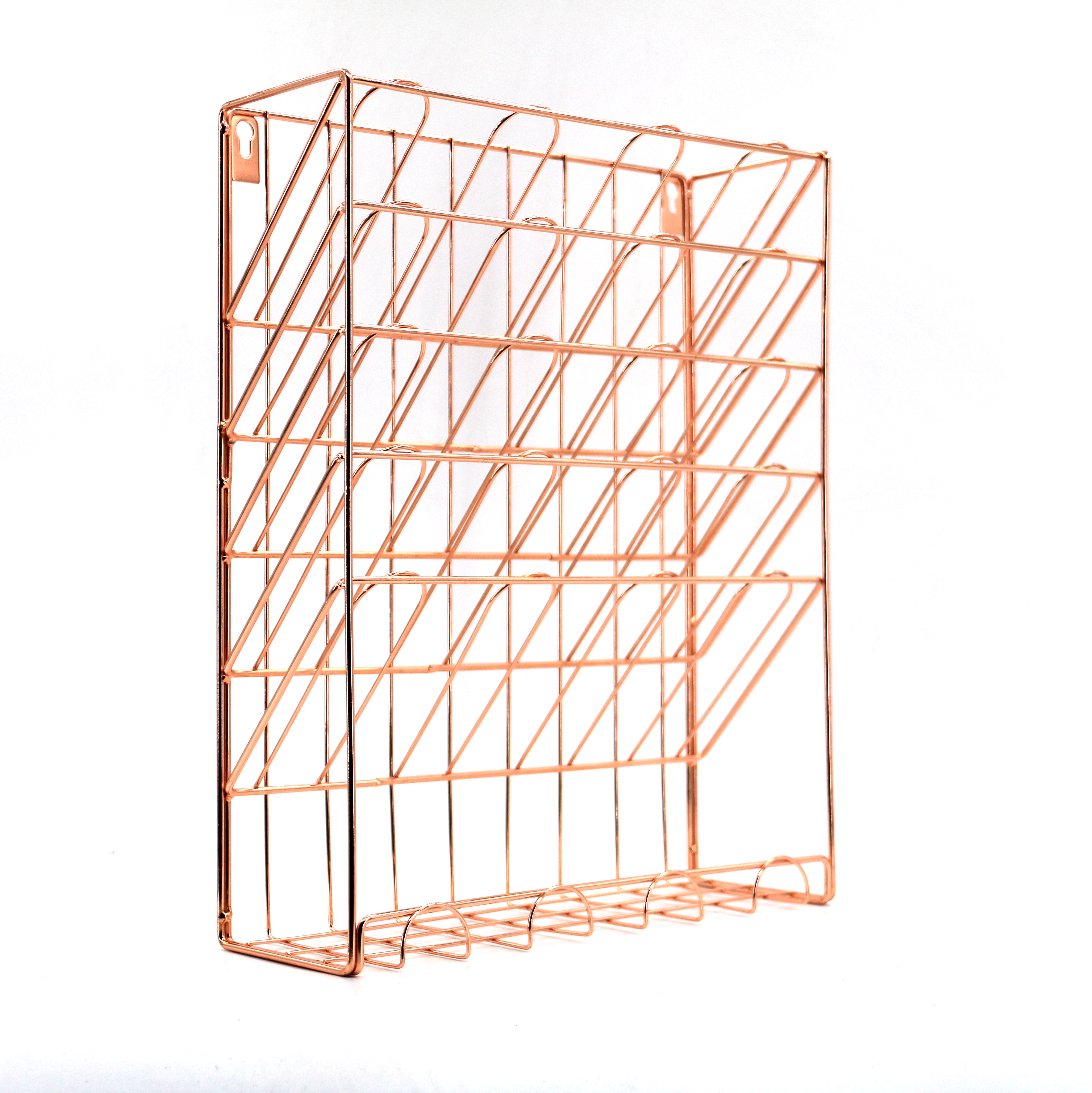 Wideny hot-sale 6 tier Office electroplating Gold metal wire hanging door wall mounted file organizer