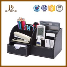 wholesale 2 drawer fancy leather office stationery desk organizer