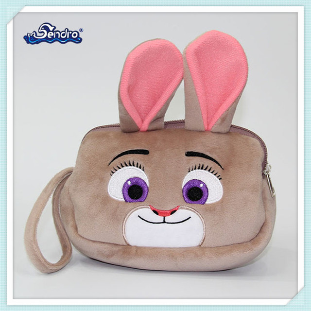 CE standard lady makeup pouch cute soft plush rabbit cosmetic bag