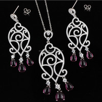 SJ Russian Exotic Style 925 Sterling Silver Antique Hollow Pave White Cubic Zircon Waterdrop Necklace Earrings Jewelry Set