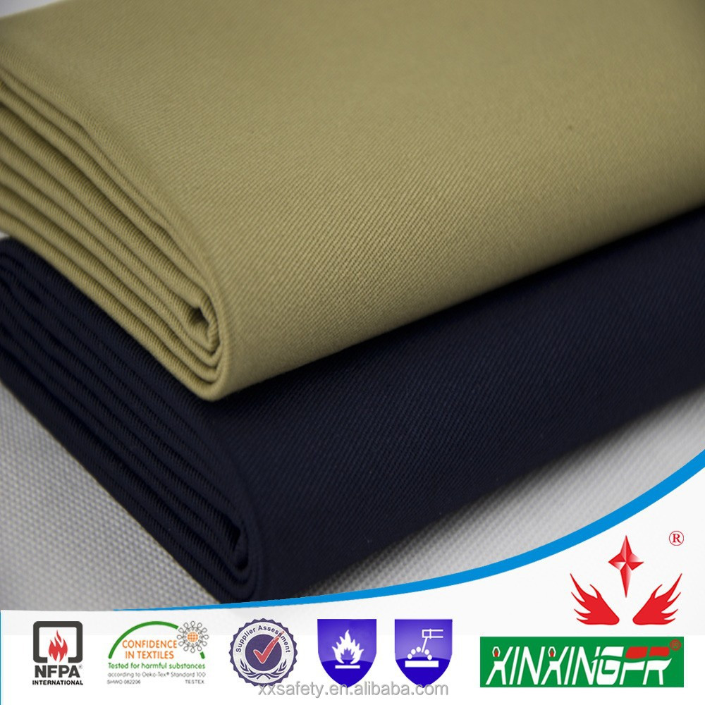 Xinxing protective cotton 10*7 yarn 370gsm after finished water repellent fire resistant fabric for safety workwear